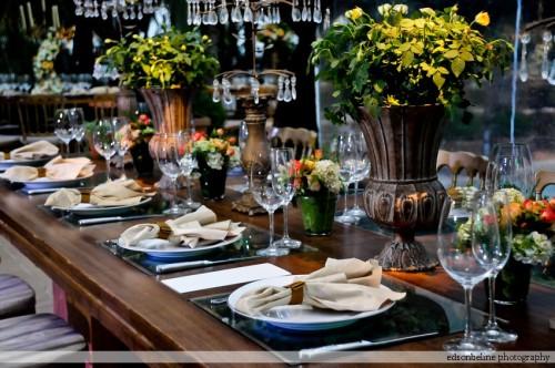 mesa de madeira para casamento